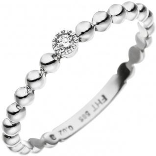 Damen Ring Kugel 585 Gold Weißgold 1 Diamant Brillant Weißgoldring Kugelring