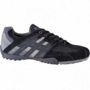 Geox sportliche Herren Leder Sneakers black, Meshfutter, chromfrei, herausnehmbare Einlegesohle, 2141110/44