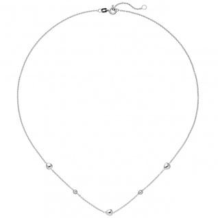 Collier Herz Kugel 925 Sterling Silber 45 cm Silberkette Federring