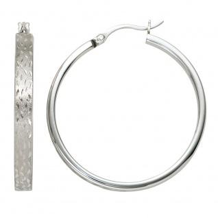 Creolen rund 925 Sterling Silber mattiert Ohrringe Silberohrringe Silbercreolen
