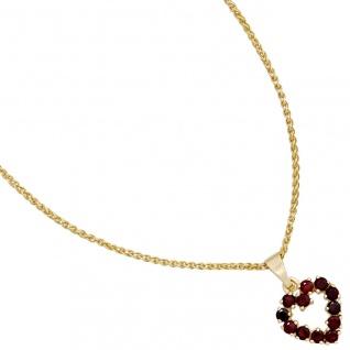 Anhänger Herz 375 Gold Gelbgold 12 Granate rot Herzanhänger Granatherz