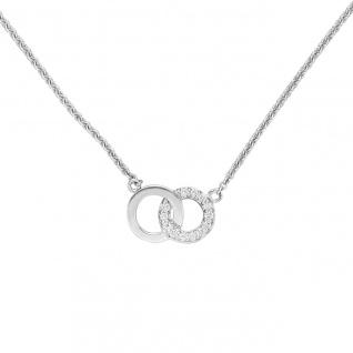 Collier Halskette 585 Gold Weißgold 13 Diamanten Brillanten 45 cm Kette