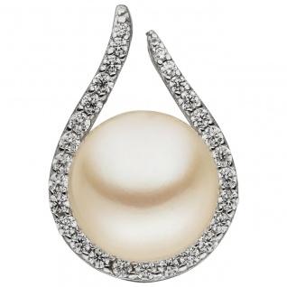 Anhänger 925 Sterling Silber 1 Süßwasser Perle 29 Zirkonia Perlenanhänger