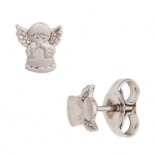 Kinder Ohrstecker Engel Schutzengel 925 Silber mattiert Ohrringe Kinderohrringe