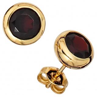 Ohrstecker rund 375 Gold Gelbgold 2 Granate rot Ohrringe Granatohrstecker
