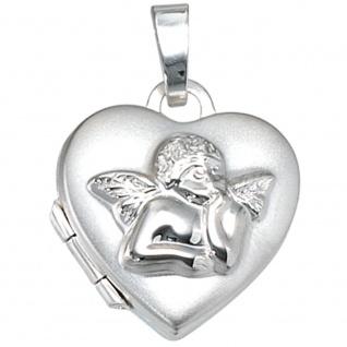 Kinder Medaillon Herz Engel Schutzengel für 2 Fotos 925 Silber Kindermedallion