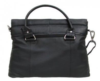 Dolphin Damen Leder Shopper schwarz, Leder Business Tasche, 4 Fächer, ca. 39x29x8 cm - Vorschau 2