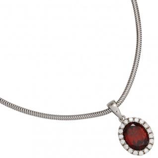 Anhänger oval 925 Sterling Silber rhodiniert mit Zirkonia 1 Granat rot