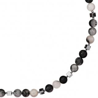 Collier Edelsteinkette Rutilquarz mit Hämatin 45 cm Halskette Kette grau