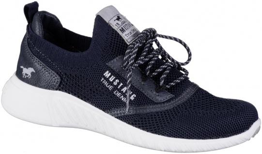 MUSTANG Mädchen Strick Sneakers navy, Stretch Schaft, softe Decksohle