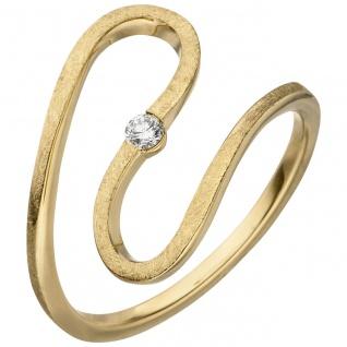 Damen Ring geschlängelt 585 Gold Gelbgold eismatt 1 Diamant Brillant 0, 05ct.