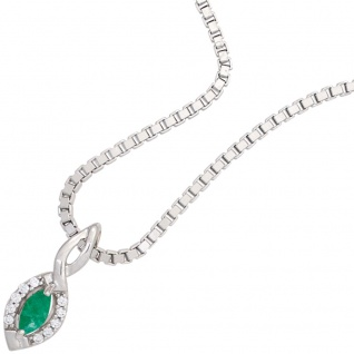 Anhänger 333 Gold Weißgold 1 Smaragd grün 10 Diamanten Brillanten Goldanhänger