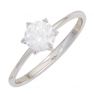 Damen Ring 333 Gold Weißgold 1 Zirkonia Weißgoldring