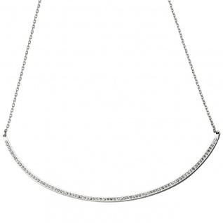 Collier Halskette Kette mit Anhänger aus Edelstahl mit Kristallen 50 cm - Vorschau 3