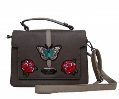 Angel kiss FLOWER kleine freche Handtasche mit Schmetterling braun/taupe, Fashion Strap INKA Design, 25x19x10 cm