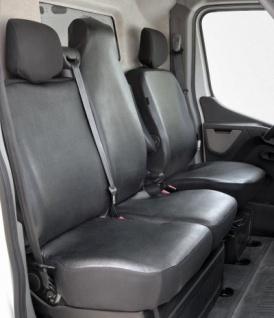 Passform Sitzbezüge Renault Master, passgenauer Kunstleder Sitzbezug Einzelsitz+Doppelbank vorn, Bj. 04/2010-2014