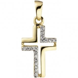 Anhänger Kreuz 375 Gold Gelbgold 18 Zirkonia Kreuzanhänger Goldkreuz