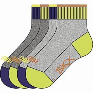 Skechers Basic NOS Quarter Boys Jungen Socken fog, 4er Pack Skechers Jungen Socken grau, 6539121/23-26
