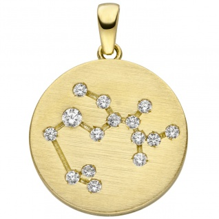 Anhänger Sternzeichen Schütze 333 Gold Gelbgold matt 15 Zirkonia Goldanhänge