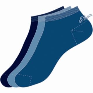 s.Oliver Classic NOS Unisex Sneaker, 3er Pack Damen, Herren Sneaker Socken blau
