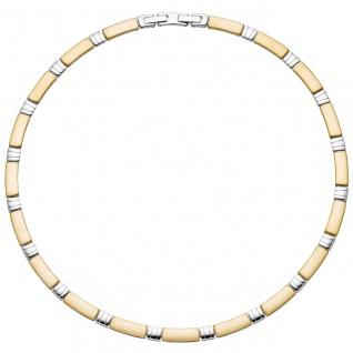 Collier Halskette aus Edelstahl gold farben beschichtet bicolor 47 cm Kette - Vorschau 2