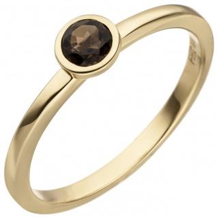Damen Ring 585 Gold Gelbgold 1 Rauchquarz Goldring