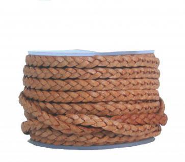 Rindleder Flechtband flach geflochten cognac, für Leder Armbänder, Lederketten, Länge 10 m, Breite ca. 4 mm, Stärke ca. 2 mm