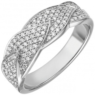 Damen Ring 585 Gold Weißgold 119 Diamanten Brillanten 0, 45ct. Diamantring