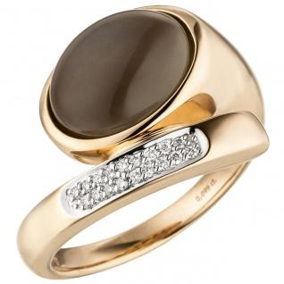 Damen Ring Mond 585 Gold Rotgold 1 Mondstein Cabochon 18 Diamanten Brillanten
