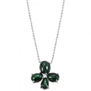 Collier Halskette 925 Silber 4-Malachit-Cabochons 1 Zirkonia 45 cm Kette
