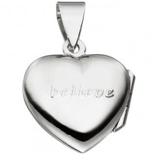 Medaillon Herz für 2 Fotos 925 Sterling Silber Anhänger zum Öffnen - Vorschau 3