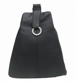 sportlich-eleganter Damen Leder Stadtrucksack schwarz, 3 separate Fächer - Vorschau 1