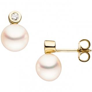 Ohrstecker 333 Gold Gelbgold 2 Süßwasser Perlen 2 Zirkonia Ohrringe