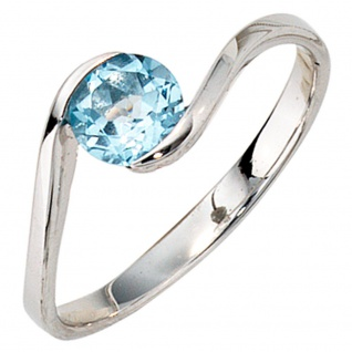 Damen Ring 333 Gold Weißgold 1 Blautopas hellblau blau Goldring