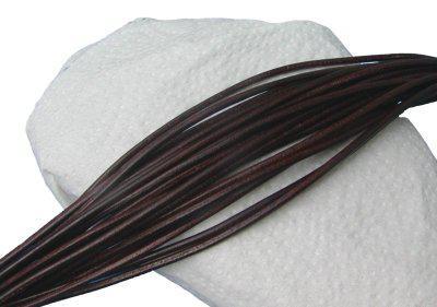 10 Stück Rindleder Rundriemen dunkelbraun, geschnitten, für Lederschmuck, Lederketten, Länge 80 cm, Ø 2 mm