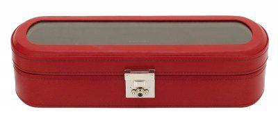 Friedrich Lederwaren exklusiver Damen Leder Uhrenkasten für 5 Uhren rot, Serie Cordoba, ca. 33x10, 7x8, 5 cm