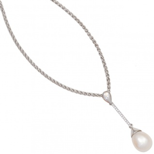 Anhänger 585 Gold Weißgold 1 Süßwasser Perle 14 Diamanten Perlenanhänger