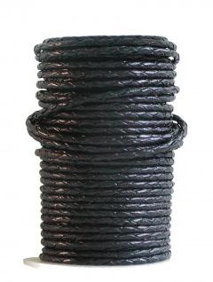 Rindleder Rundlederriemen geflochten schwarz glatt, für Lederarmbänder, Leder...
