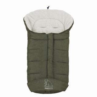molliger Baby Winter Fleece Fußsack dunkelgrün meliert, voll waschbar, für Ki...