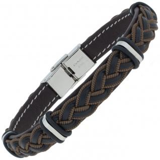 Armband Leder schwarz braun geflochten mit Edelstahl 21 cm
