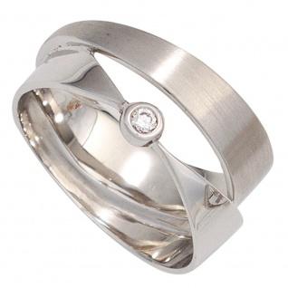 Damen Ring breit 585 Gold Weißgold matt mattiert 1 Diamant Brillant Weißgoldring