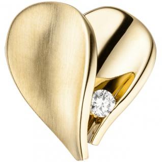 Anhänger Herz 585 Gold Gelbgold teilmatt 1 Diamant Brillant Herzanhänger