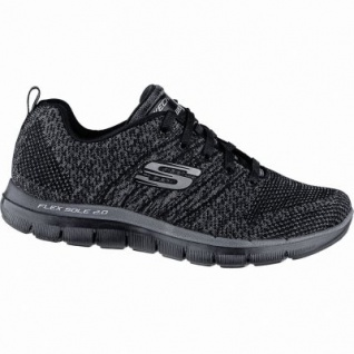 Skechers Flex Appeal 2.0 coole Damen Strick Sneakers black, Skechers Air-Cooled-Memory-Foam-Fußbett, 4240182