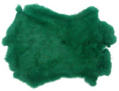 Kaninchenfelle dunkelgrün gefärbt, ca. 30x30 cm, Felle vom Kaninchen mit seidigem Haar