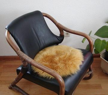 runde Sitzauflage aus australischen Lammfellen, Fellkissen ocker, Ø ca. 45 cm...