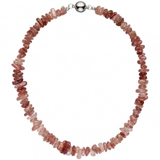Halskette Kette Erdbeerquarz 44 cm Erdbeerquarzkette Quarzkette Steinkette