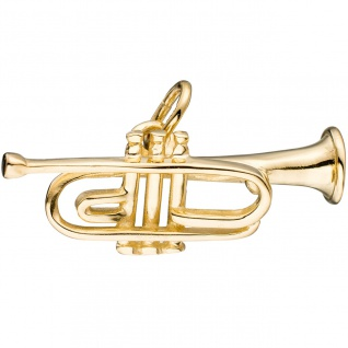 Anhänger Trompete 925 Sterling Silber gold vergoldet