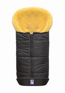 großer Baby Premium Winter Lammfell Fußsack grau waschbar, Kinderwagen, Buggy, ca. 100x44 cm, komplett aufklappbar