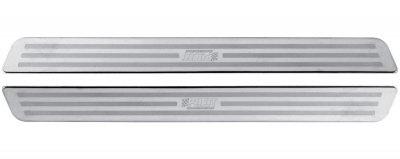 LAMPA 2er Set Universal Edelstahl Tür Einstiegsleisten 33x3, 2 cm selbstklebend, schnelle Montage, alle Fahrzeuge