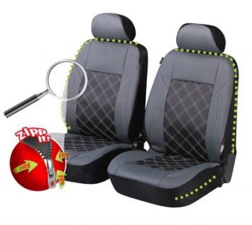 2 Stück Universal ZIPP IT Auto Sitzbezüge schwarz aus Kunstleder für Vordersitze, mit Reissverschluss System